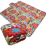 Proheim Picknickdecke 135 x 175 cm aufrollbare Fleece Campingdecke mit Blumenmuster wärmeisoliert und wasserdicht mit Tragegriff