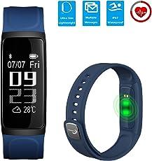 CHEREEKI [2018 Nuova Versione] Slim Fitness Tracker (Soft Strap) IP67 frequenza cardiaca Waterproof Touch Screen Activity Tracker Leggi ID chiamante Messaggi SMS da Facebook ecc per Android e iOS