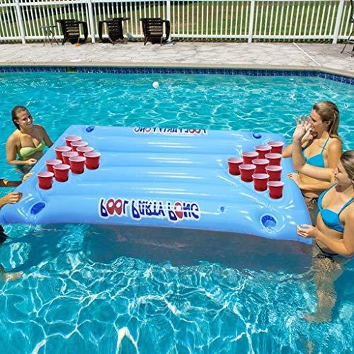 Swim Party Toys Schlauchboot Pool Driftet Aufblasbare Schwimmfähige Bier Tischtennis Tisch Lobby Sitz Kugel Pool Party Spielen 24 Cup Holder, Golden_flower