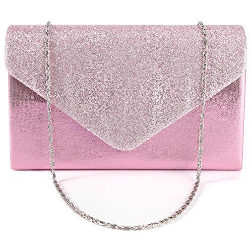 Neu schicke Damentasche glitzend umklappende Decke Abendtasche Clutch Handtasche mit Kette 4 Farbe Pink