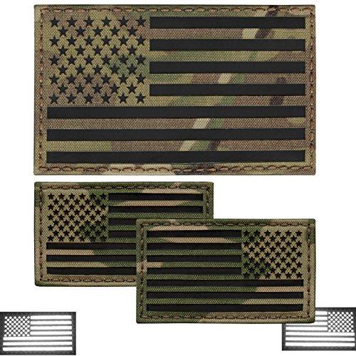 Tactical Freaky Bundle Set von 3Multicam Infrarot USA American Flaggen Vorwärts und umgekehrt Laser Rucksack Molle Klett Patches -