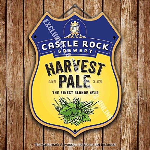 castle-rock-ernte-pale-feinstes-blond-bier-werbung-bar-old-pub-drink-pumpe-badge-brauerei-cask-keg-z