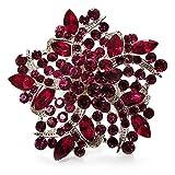 Grande, Magenta, cristal, flores, (tono de plata) cóctel-anillo