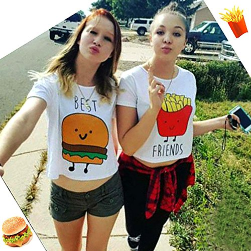 Mangotree Best Friends T Shirt Sommer Schwestern Tops Damen Weiß Kurzarm Shirt Süße Hamburg Pommes Frites Crop Top Bluse Tee Mit Cartoon Best