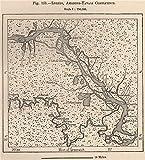 Loreto, Amazon/Yavari (Javari) confluence. Peru - 1885 - old antique vintage map - printed maps of Peru