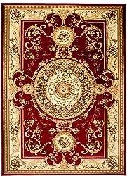 """Traditioneller Klassischer Orientalischer - Rot Creme Beige - Perserteppich - Teppich Für Ihre Wohnzimmer - Orientalisches Blumen Muster - Konturenschnitt Blumen Ornamente Mandala 3D-Effekt Gewebter Teppich in hoher Qualität """" ISKANDER """" 140 x 190 cm Groß"""