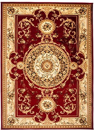 Kashan Roten Teppich (Carpeto Teppich Orientteppich Rot 160 x 220 cm Medaillon Konturenschnitt Muster Iskander Kollektion)