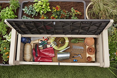 Keter Eden Bench Outdoor Storage Box Garden Furniture, 140 x 60 x 84 cm – Beige and Brown