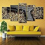 Poster gedruckt Rahmen Hd Malerei Wand -Kunst -Modular moderne Segeltuch 5 Panel -Gun Kugel...