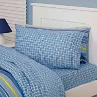 Just Kidding Cheeky Check Fitted Sheet & Two Pillow Cases Set, Blue, Double