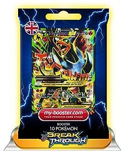 MEGA M HOUNDOOM EX (Demolosse) FULL ART 154/162 210HP XY08 BREAK THROUGH - Booster de 10 cartes Pokemon anglaises my-booster