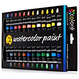 Colore Aquarellfarben – Qualitativ hochwertiges Premium-Mal-Set für Künstler, Studenten & Anfänger – 24 Farben mit reichhaltiger Pigmentierung Wasserfarben