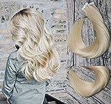 Tape in Haarverlängerungen Menschenhaar 20pcs 50g pro Satz #613 Bleached Blonde Remy Haar-Verlängerungen Nahtlose Haut einschlagRemy Silk gerades Haar-Tape in Verlängerungen Menschenhaar 14 Zoll