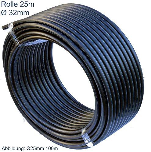 PE Rohr 32 mm x 25 Meter PE-HD Rohr Wasserrohr Wasser Leitung Kunststoffrohr Bewässerung Wasser Rohre schwarz