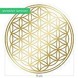 atalantes spirit - Blume des Lebens-Aufkleber Abriebfest - Farbe Gold - Ø 9 cm - 1 Stück - Druck auf Transparenter Folie - Lebensblume-Sticker