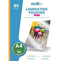 Pochette plastifieuse Deskit A4, brillantes, 80 feuilles, 150 microns - Présentations claires et durables - Rigidité…