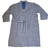 Mens Wolsey Checked Design Woven Brushed Cotton Bath Robe Dressing Gown Nightwear (Navy) XL
