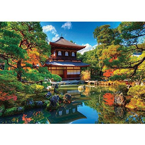 Vlies Fototapete PREMIUM PLUS Wand Foto Tapete Wand Bild Vliestapete - Japan Tempel Haus Eden Natur grün See Steine - no. 1098, Größe:400x280cm Vlies See, Japan