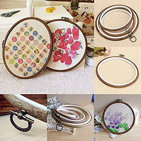 Plastique Bois Broderie Cadre Cross Stitch Embroidery Hoop Outils Couture 1pc (Ronde 15cm)