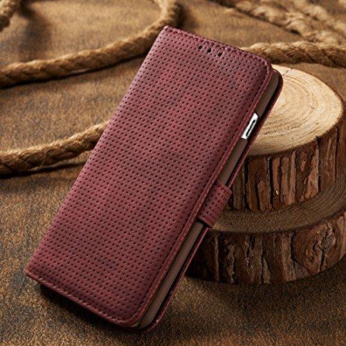 Phone Case & Hülle Für iPhone 6 & 6s Retro Style Mesh Atmungsaktives Horizontal Flip Ledertasche mit Kartensteckplatz & Halter & Brieftasche ( Color : Brown ) Red