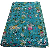 Khushvin Indian Queen Handmade Quilt Paradise Print Kantha Cotton Blanket and Bed Cover (Turquoise)
