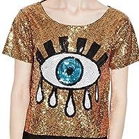 Women's Leisure Sexy Shirt Baggy Eyes Sequin Capris Tees Top Golden OS