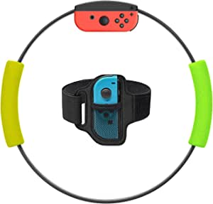 MENEEA Grip Ring con Cinghia di Fissaggio Le Gambe per Nintendo Switch Game, Kit Cinghie di Fissaggio per Le Gambe Regolabili per Switch Ring Fit Adventure Game(Ring Con non incluso)(Giallo e Verde)