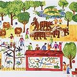 Weißer Stoff mit Menschen und Tieren im Zoo von Andover