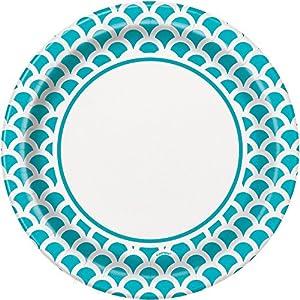 Unique Party Paquete de 8 platos de papel con diseño de concha Color azul cerceta 23 cm 37205