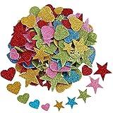 Vientiane Glitter Schaumstoff Sticker, 200 Stück Selbstklebendes Stern und Herz Formen Schaumstoff Aufkleber, Glitzernde Aufkleber für Startseite Zimmerwand DIY Fertigkeit Verzierung Satz
