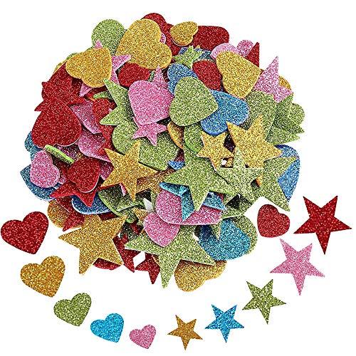 vientiane Glitter Schaumstoff Sticker, 200 Stück Selbstklebendes Stern und Herz Formen Schaumstoff Aufkleber, Glitzernde Aufkleber für Startseite Zimmerwand DIY Fertigkeit Verzierung Satz -