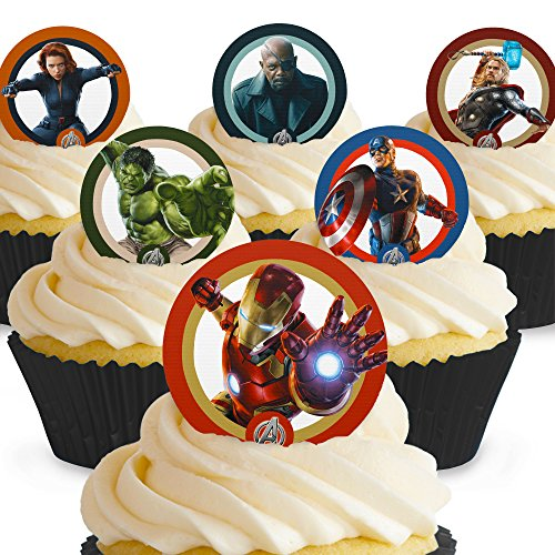 T Avengers Edible Cake Toppers - Premium Wafer Paper by Cakeshop PRE-CUT (Avenger Cupcake Toppers)