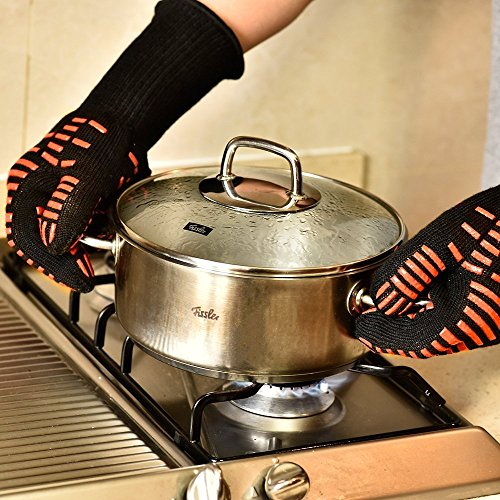 TTLIFE Guantes de Cocina para Horno, Barbacoa y Parrilla Guantes de Nomex y Kevlar Resistente al calor hasta 932°F( 500ºC) Flexibles/ Transpirables/ Lavables Permiten cocinar durante mucho tiempo a Altas Temperaturas- 1 Par (largo) - 3