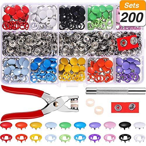 Qfun bottoni automatici a pressione metallo 200 set sewing craft set cucito con pinze a scatto mestiere di cucito pinza per bottoni automatici set bottoni fai da te 9.5 mm, 10 colori