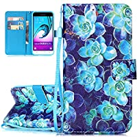 ISAKEN Galaxy J3 2015/2016 Case, ISAKEN Drawing Pattern Design Bookstyle PU Leather Case for Samsung Galaxy J3 2015(2016) Luxury Wallet Magnetic Mobile Cover Protect Skin Stand Case Pouch with Card Holder - Blue flowers