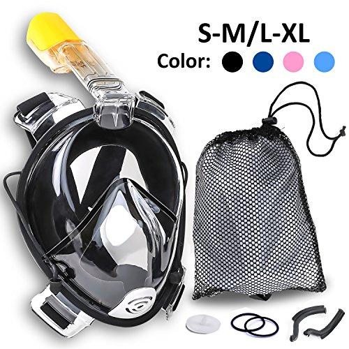 Molee Neu designte Tauchmaske Tauchermaske Vollgesichtsmaske Schnorchelmaske 180° Tauchmaske Vollgesichtsmaske Schnorchelmaske, 100% Panorama Sicht, Anti-Fog, Anti-Leak -mit zusätzlichen Atemröhren, die die Atemluft aus dem Sichtfeld lenken (schwarz, L/XL)