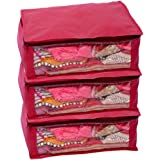 Kuber Industries Non Woven Saree Cover 3 Pcs Combo  Maroon