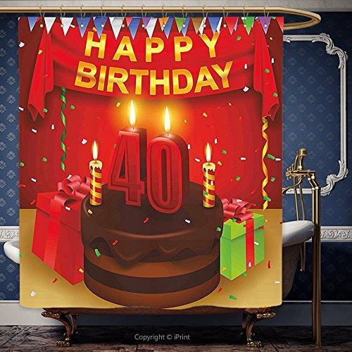iPRINT cortina de ducha de 72x 72inch 40th cumpleaños Decoración Set de fiesta Up con banderas Chocolate Cake cintas y confeti lluvia Multicolor 00115poliéster baño accesorios decoración del hogar
