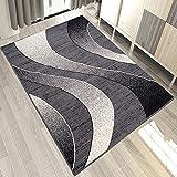 Carpeto Designer Teppich mit Modern Wellen Meliert in Grau Dunkelgrau - ÖKO Tex (250 x 350 cm)