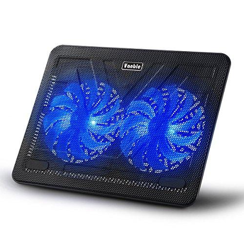 Laptop Kühler 12-17 Zoll,Vanble Cooling Pad mit Dual 160mm Lüfter und LEDs, Notebook Cooler Ständer Kühlpad Kühlmatte, 2 USB-Ports (38.2 x 28 x 2.8cm)