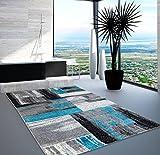 Teppich Modern Designer Wohnzimmer Shake Farbverlauf Blau Grau 80x150 cm