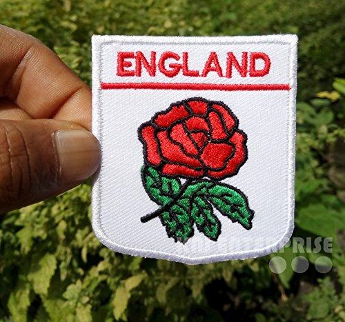 England National Rugby Logo mit Rose Hohe Qualität | Eisen auf Patch | Sew auf bestickt Patch | Eisen Buttons für Kleidung | Größe: 6cm x 7cm