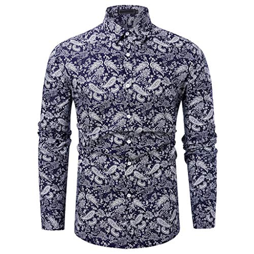 Maglia a maniche lunghe, uomo,slim fit elegante stampato floreale maglia,moda casual,bottoni,primavera-estate 2019,xs/s/m/l/xl