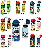 Belldessa Sportflasche / Trinkflasche -  Feuerwehrmann & Feuerwehr  - incl. Name - aus Aluminium - Alutrinkflasche - 420 ml - für Kinder Aluflasche 0,4 Liter / auslau..