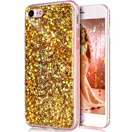 iPhone 7 Coque,iPhone 7 Housse en Silicone,JAWSEU Placage Luxe Fashion Brillante Mirior Tpu Case Cover,iPhone 7 Cristal Clair Ultra Mince Flex Soft Gel Bumper housse Etui de Protection,Bling Sparkle M gold