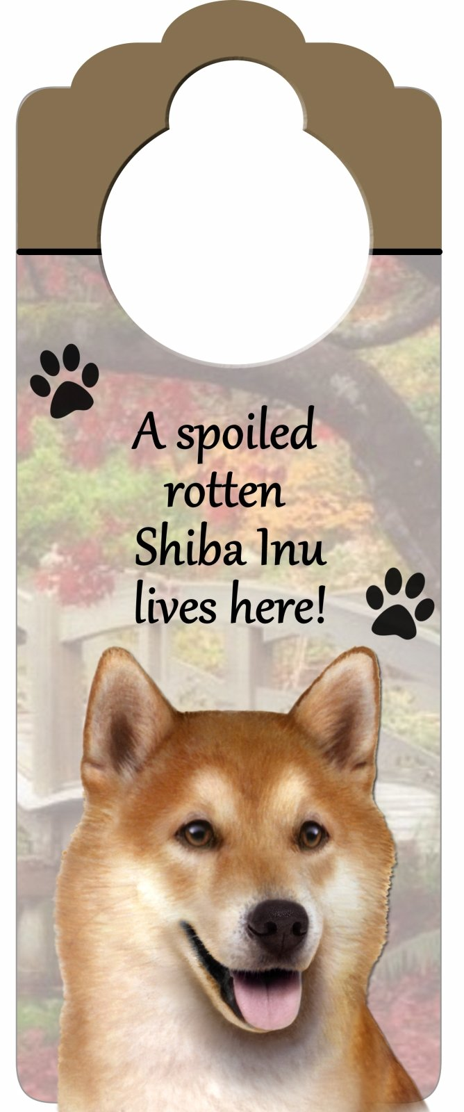 E&S Pets Shiba Inu Wood Sign A Spoiled Rotten Shiba Inu Lives Here with Artistic Photograph Measuring 10 by 4 Inches Can Be Hung On Doorknobs Or Anywhere In Home