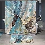 TS-nslixuan Duschvorhang Wasserdicht Mehltau Polyester Dekorieren Sie Ihr Leben Duschvorhang Digital Print Tinte Hohe Farbe Oben Umweltfreundliche Keine Geruch - Badematte 180Cmx180Cm Gemälde 2