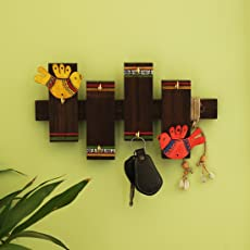 ExclusiveLane Birds on Planks Warli Hand-Painted Teak and Pine Wood Key Holder, Brown