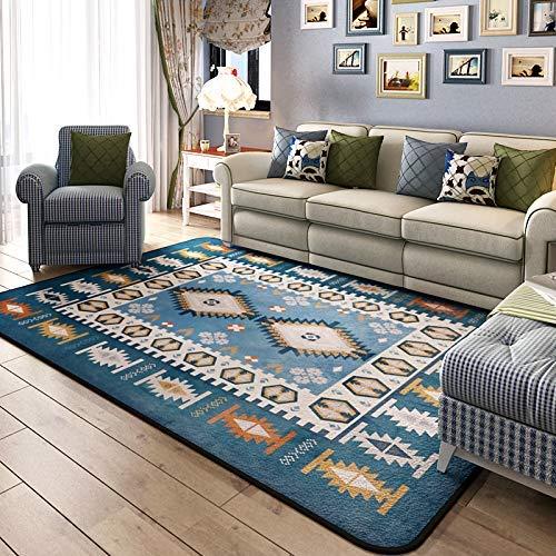 Lindou Moderne Decke, Schlichter, moderner mediterraner Teppich, Wohnzimmer, Couchtisch, Schlafzimmer, Schlafzimmer, Wohnzimmer, rechteckig, (Farbe: Blau, Größe: A), blau, A
