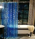 WEIJIANYU Cuarto de baño Resistente al Agua Antibacterial 3D Impreso sólido Cortina de Ducha Material de PVC no poliéster, Blue